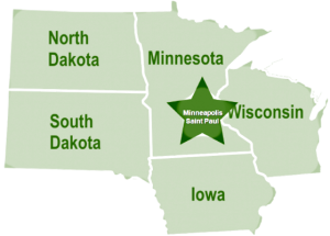 Limo and Car Services Map Five State Area Labeled Minneapolis Highlighted
