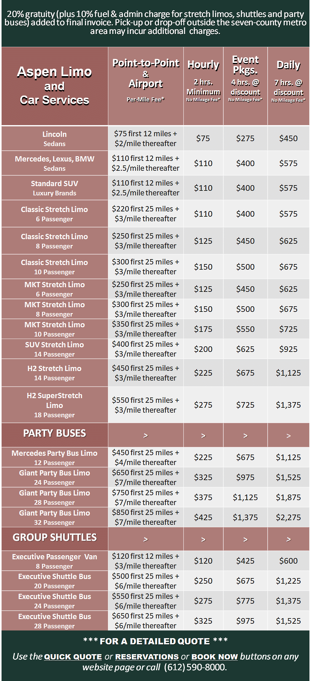 Prices Rates Limos Party Buses Car Services Minneapolis Minnesota