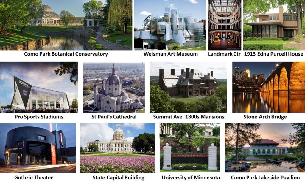 Architectural Examples Tours Photo Montage - Minneapols St Paul Minnesota