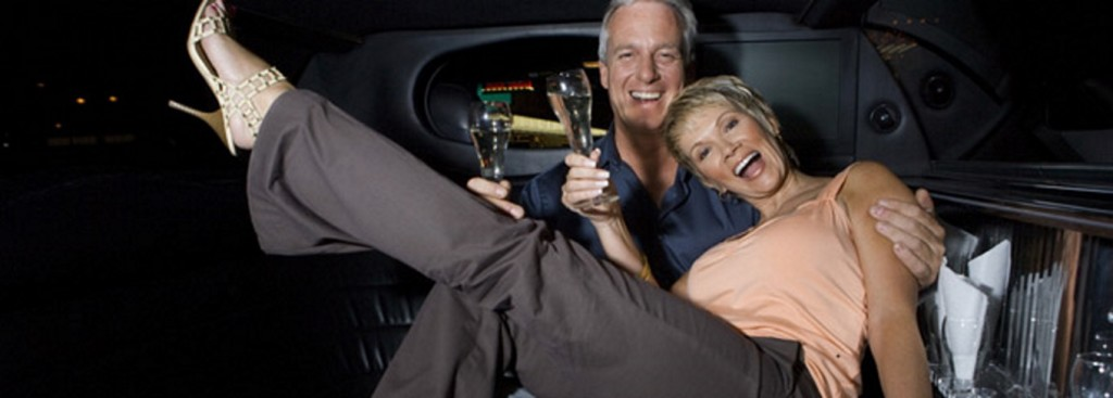 Couple Celebrating Dinner Outing in Private Limo in Minneapolis Minnesota