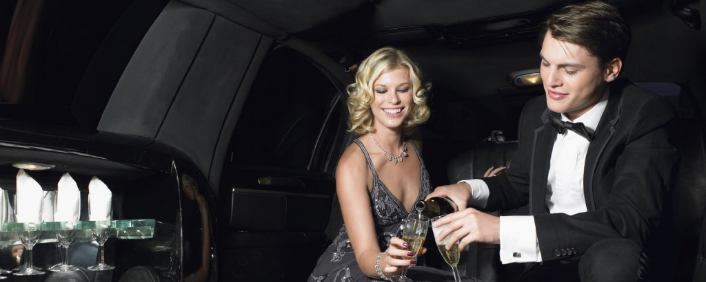 Couple in Limousine Celebrating Dinner Theater Outing in Private Limo in Minneapolis Minnesota