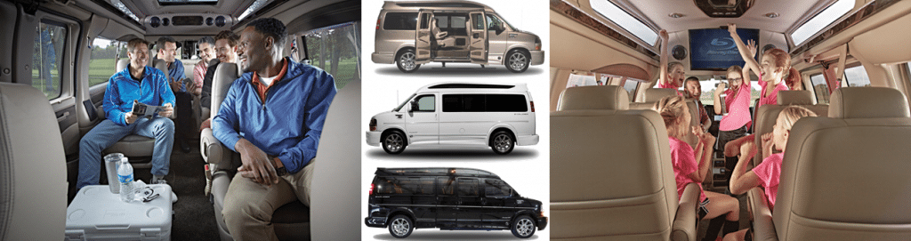 Aspen Limo Minneapolis MN - GMC Savana Conversion Happy Van Riders Gold Black White Vehicles