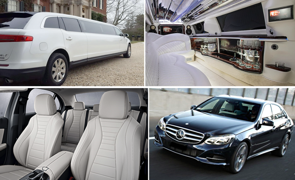 Minneapolis Limo Dinner Packages - Lincoln White Limo and Mercedes Black Sedan Photo Montage