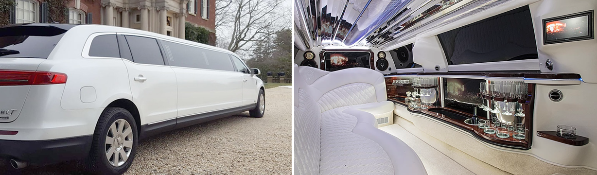 Aspen Limo Minneapolis MN Lincoln MKT White Stretch Limo Interior-Exterior Side x Side Photo