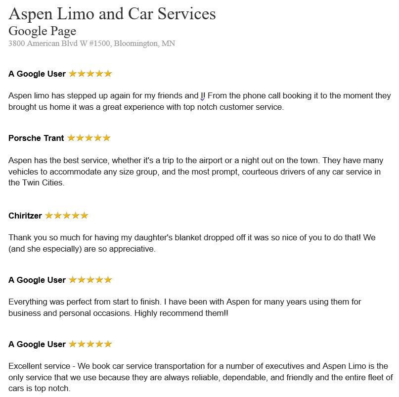 Bloomington MN Customer Reviews for Aspen Limousine