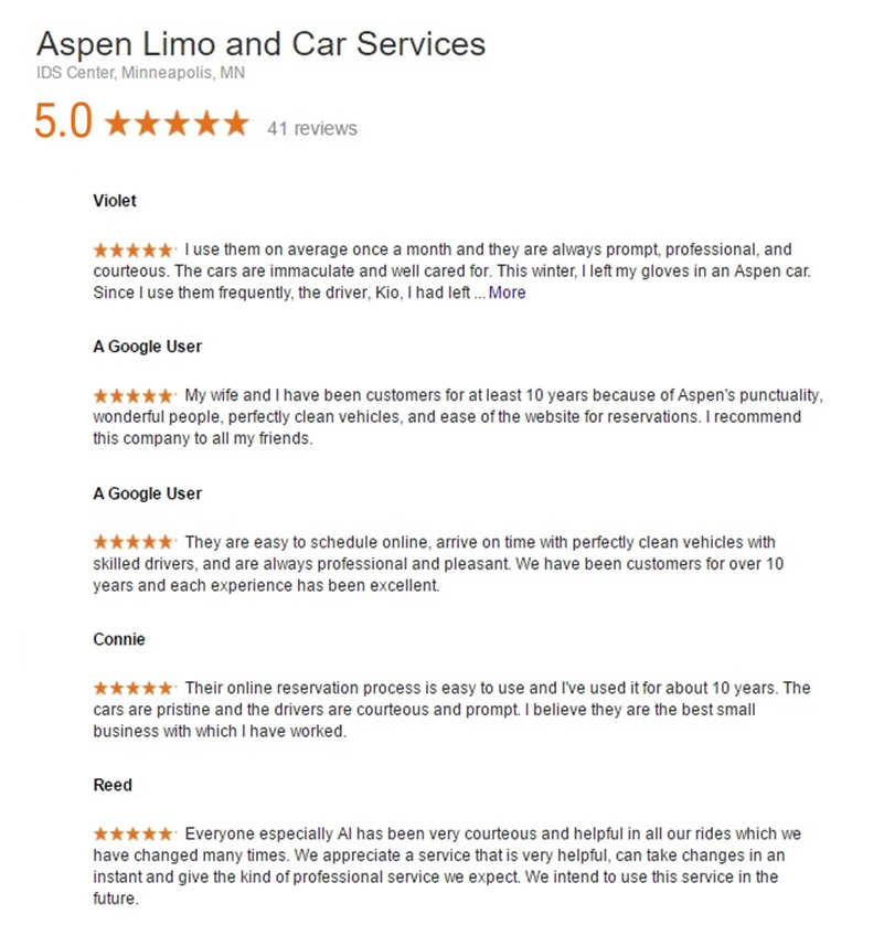 Customer Reviews for Aspen Limo Car Minneapolis MN