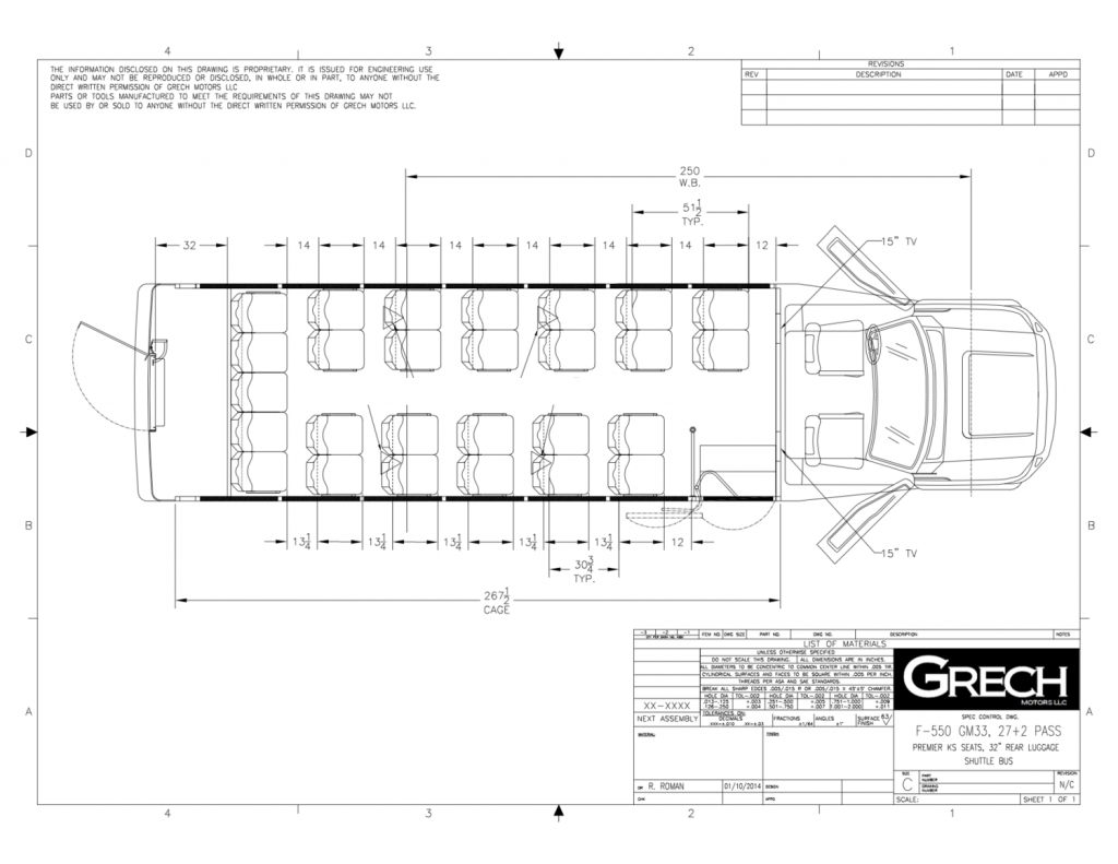 F-550 Luxury Shuttle Mini Bus Floor Plan Drawing