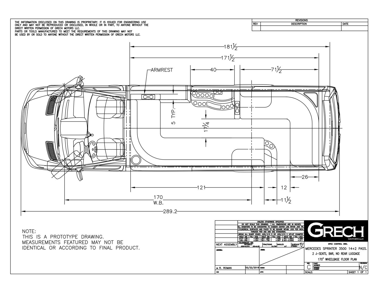 Floor Plan Sprinter 3500 170wb 14 2 Pass 2 Jseat 40in