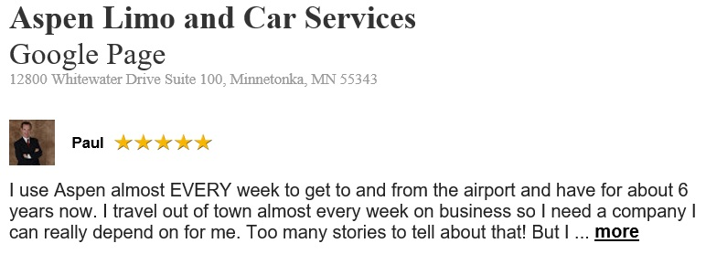 Minnetonka MN Customer Reviews Aspen Limousine Company