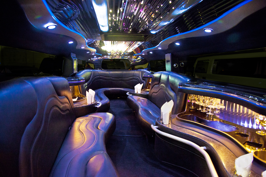 Minneapolis MN Hummer Stretch Limo Interior Lighting