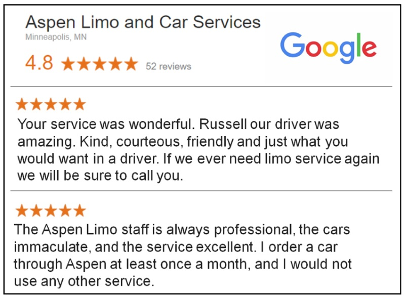 Google 5 Star Reviews for Aspen Limo and Car Services Eden Prairie MN