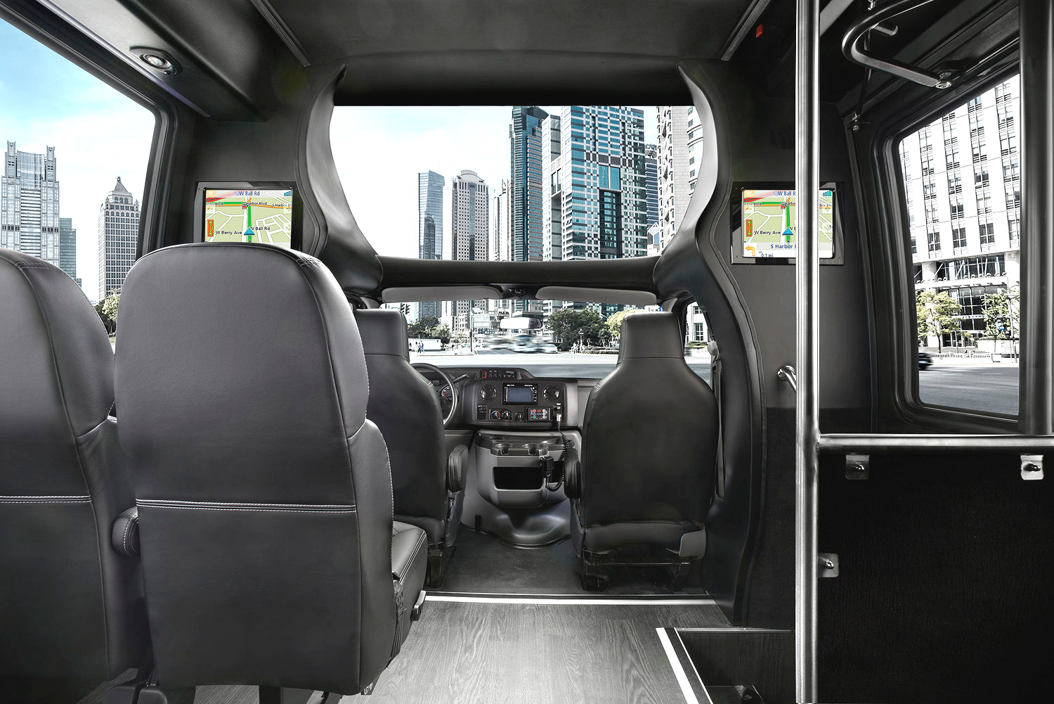 Shuttle Bus Group Transportation Services Minneapolis MN / St Paul Minnesota Front Facing Interior Seating