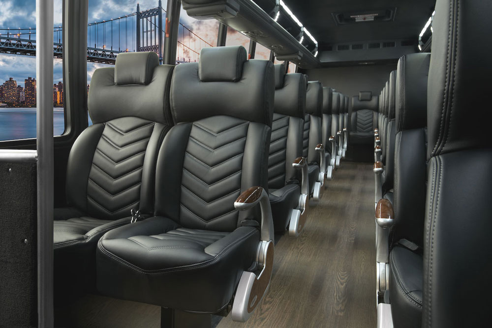 Shuttle Bus Group Transportation Services Minneapolis MN / St Paul Minnesota Leather Interior Seating
