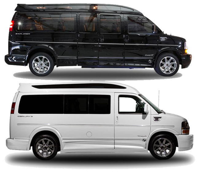 Group Passenger Van Services Minneapolis MN / St Paul Minnesota White and Black Passenger Vans