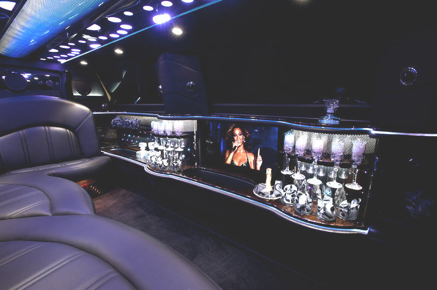 Stretch Limo Services Minneapolis MN / St Paul Minnesota Black Interior Bar Area