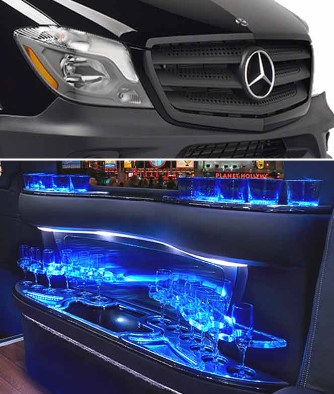 Mercedes Benz Sprinter Limo Services Minneapolis MN / St Paul Minnesota Front Grill and Interior Bar Montage Photo