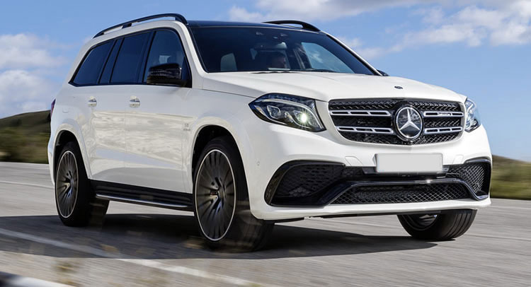 Mercedes GLS-Class SUV Car Services Minneapolis MN / St Paul Minnesota White Exterior on the Road