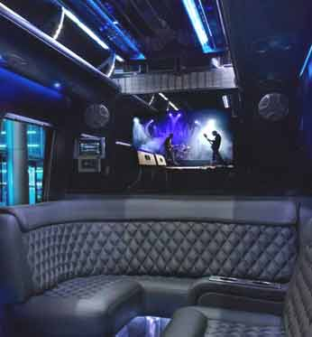 Mercedes Benz Sprinter Limo Services Minneapolis MN / St Paul Minnesota Limo Interior TV Audio