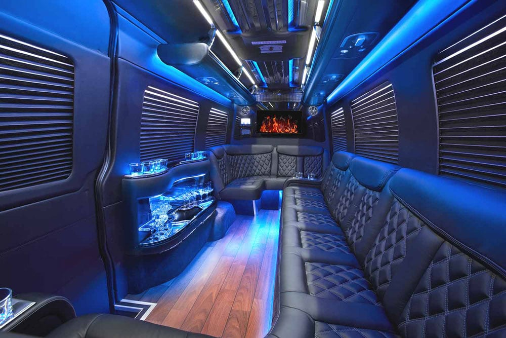 Mercedes Benz Sprinter Limo Services Minneapolis MN / St Paul Minnesota Limo Interior Party Seating Lighting