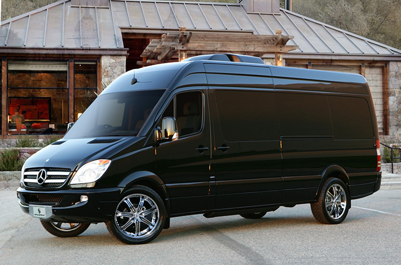 Mercedes Benz Sprinter Limo Services Minneapolis MN / St Paul Minnesota Exterior Side View Facing Left