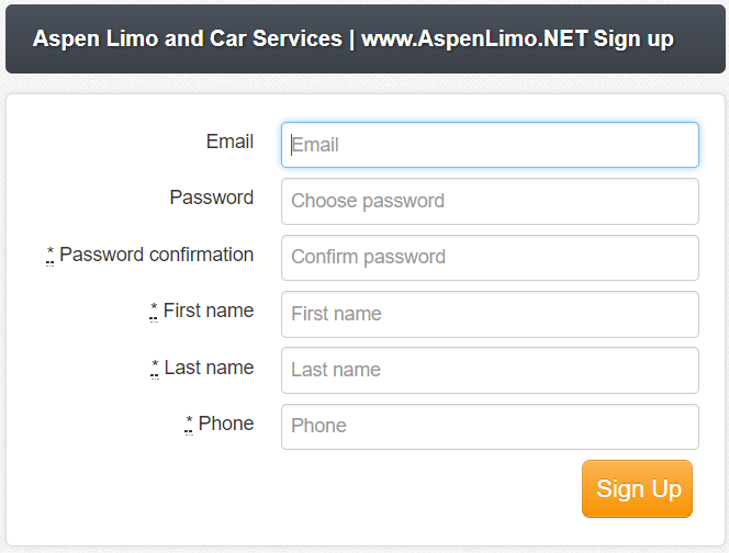 Create Accounts Aspen Limo Online Form Minneapolis MN / St Paul Minnesota