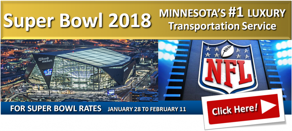 Transportation Super Bowl 2018 LII Limo Car Party-Bus Van Shuttle Services Minnesota
