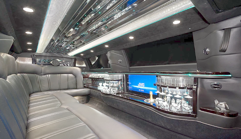 Stretch White Limo Services Minneapolis MN / St Paul Minnesota Light Black Interior View