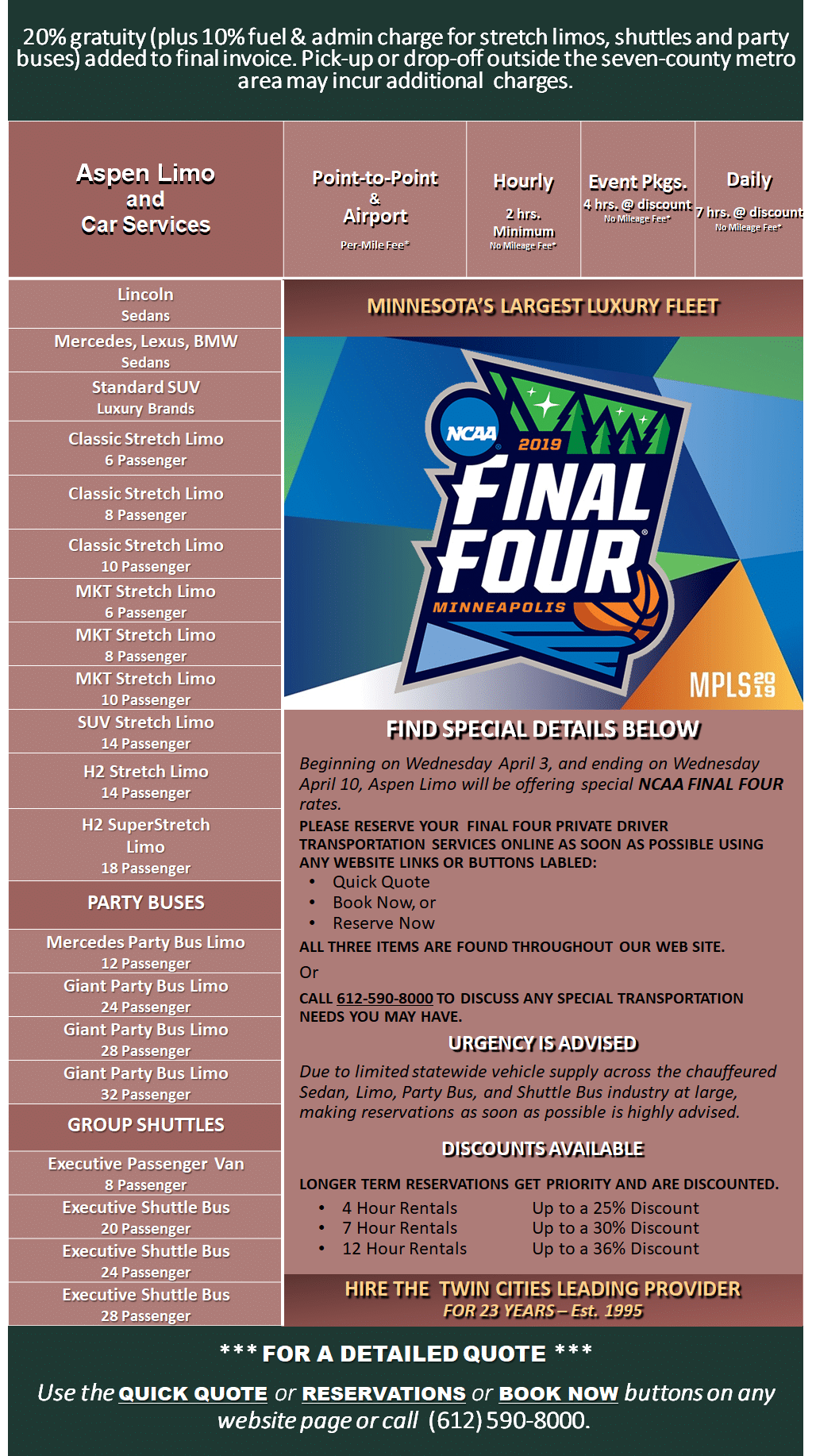Minneapolis NCAA Final Four Transportation Pricing Chart