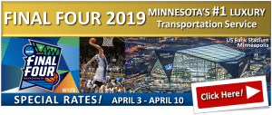 NCAA Final Four Minneapolis Transportation Services - MSP Airport Limo and Car Services - Cars, SUVs, Stretch Limos, Part Bus Limousines, Group Shuttles and Vans