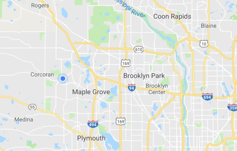 Map of Limo and Car Services in Brooklyn Park, Maple Grove, Plymouth, Coon Rapids, Anoka MN