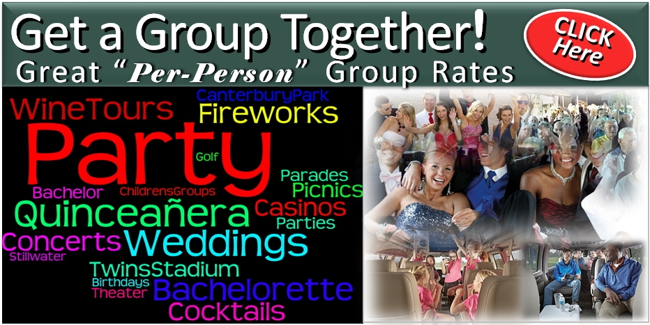Group Transportation Rates Prices Limo, Party-Bus, Shuttle Bus - Minneapolis / St Paul MN Minnesota