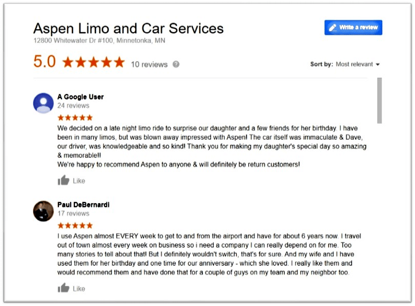 Aspen Limo Minneapolis 5 Star Google Reviews