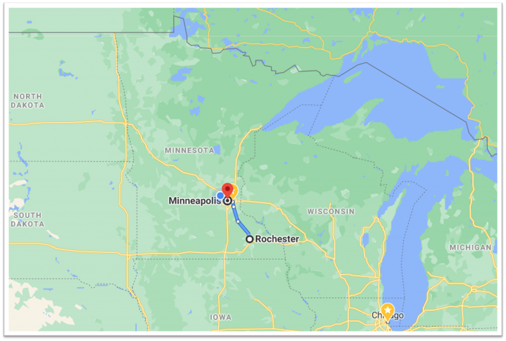 Google Map Minneapolis MN MSP Airport to Rochester MN