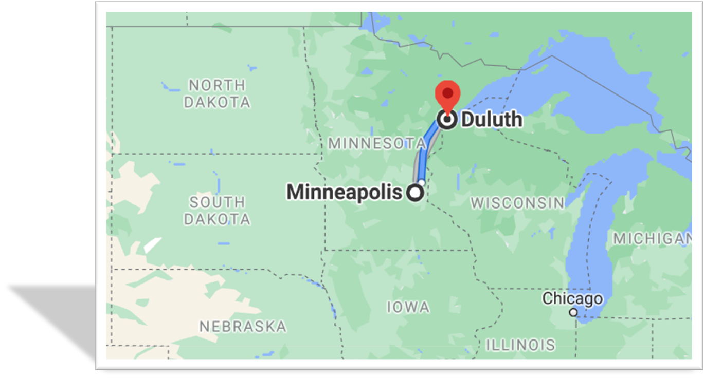 Google Map Minneapolis MN MSP Airport to Duluth MN