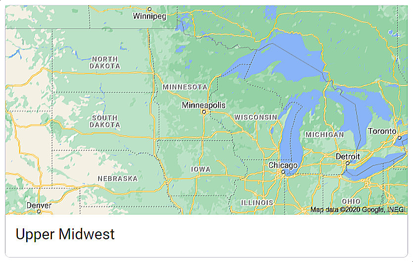 Minnesota and Other Upper Midwest Area States and Major Cities