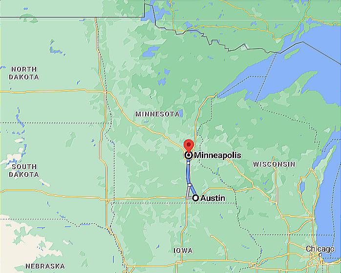 Google Map Photo Image Austin MN AUM Municipal Airport to Minneapolis MN MSP Airport