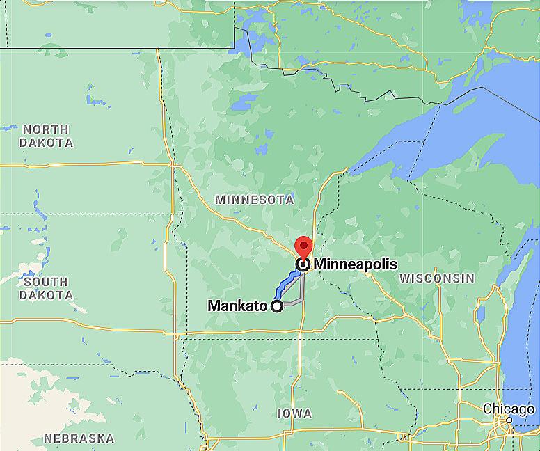 Google Mankato MN MKT Airport to Minneapolis MN MSP Airport Google Maps Image