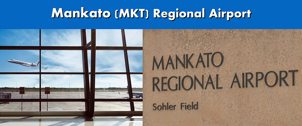 Mankato MKT Regional Airport Serving the Mankato MN Area Terminal and Sign Image