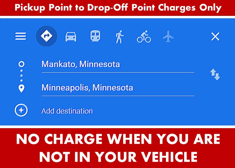 Google Directions Image - Mankato Minnesota to Minneapolis from Mankato MN- Car Services - Limo SUV Van Shuttle Party Limo Transportation - From Minneapolis to Mankato MN