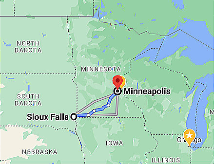 Google Map Photo Image Sioux Falls FSD Municipal Airport to Minneapolis MN MSP Airport
