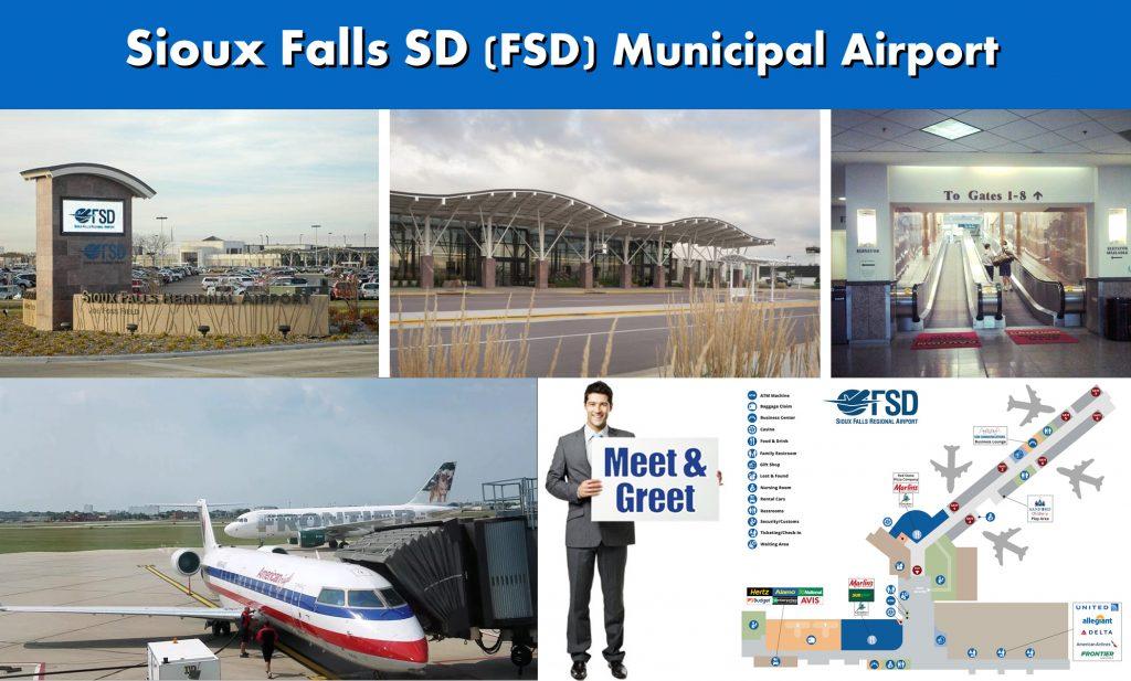 Sioux Falls South Dakota FSD Municipal Airport Jet Charter Services Photo Montage