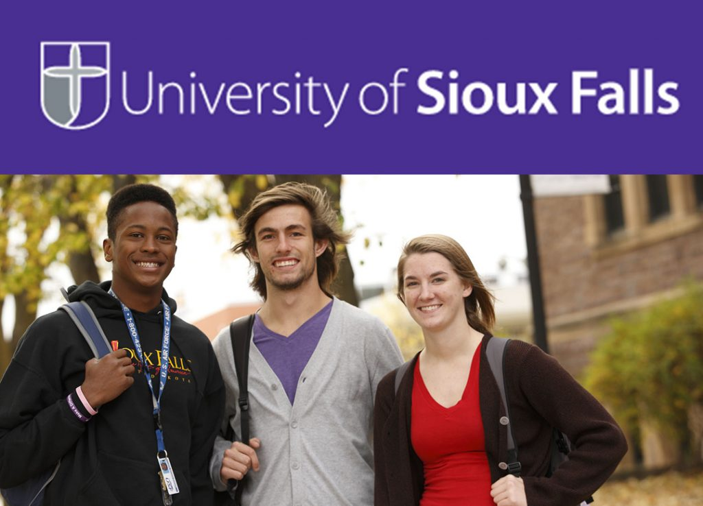 University of Sioux Falls Banner Image Logo and Students