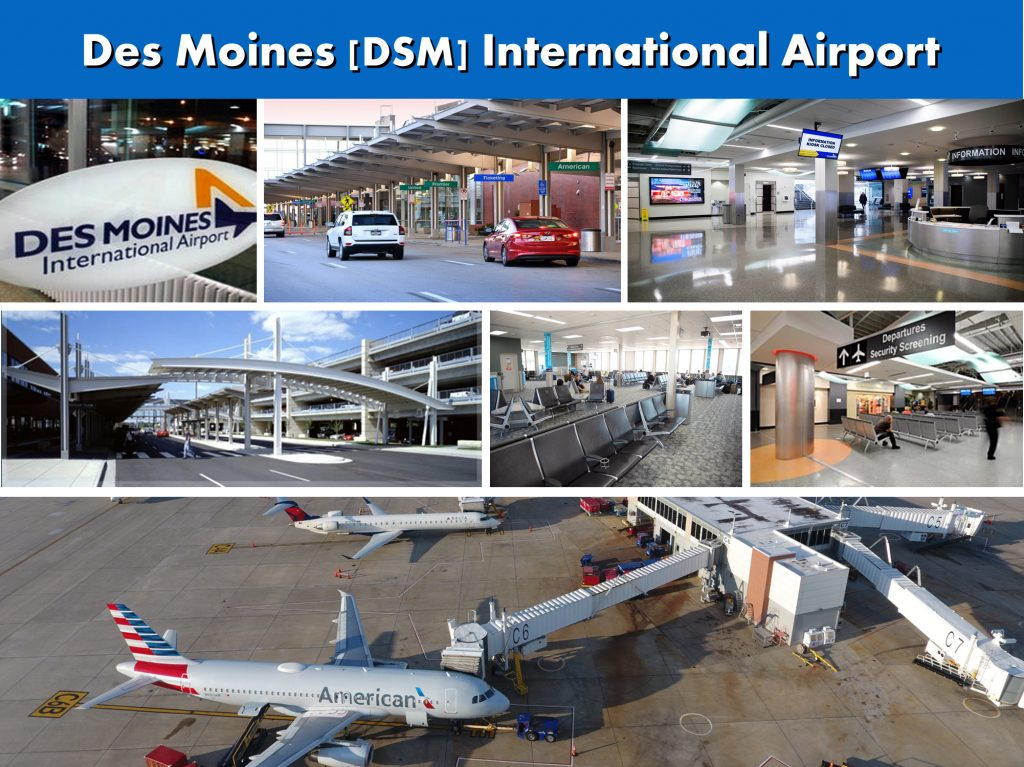Des Moines DSM International Airport - Photo Montage - Website Page - Des Moines to-from Minneapolis MN Ground Transportation Services