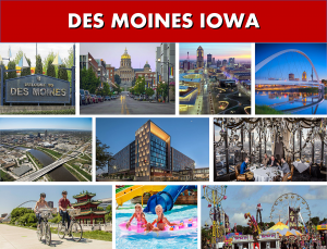 Des Moines IA City Photo Montage - Website Page Banner - Transportation Services Between Des Moines IA and Minneapolis
