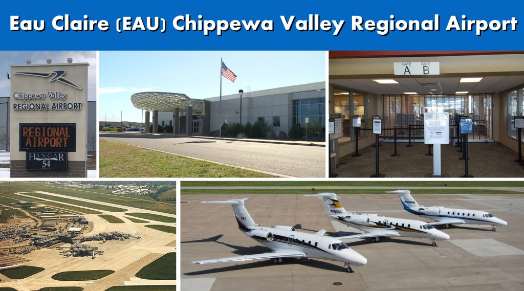 Eau Claire WI Chippewa Valley (EAU) Regional Airport Ground Transportation Services Photo Montage