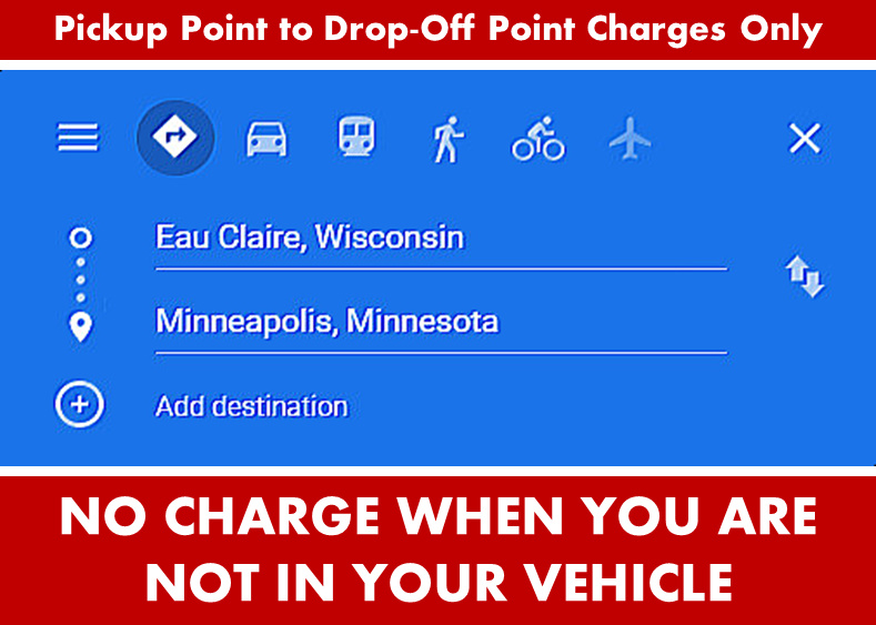 Google Directions Photo Image - Eau Claire Wisconsin to Minneapolis from Eau Claire WI - Car Services - Private-Car-Services-Limo SUV Van Shuttle Party Limo Transportation - Directions From Eau Claire WI to-from Minneapolis MN