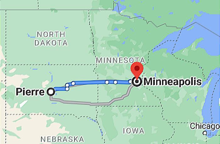Google Map Pierre SD to Minneapolis MN