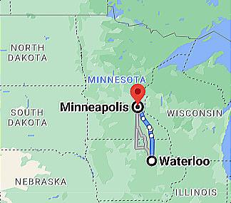 Google Map Waterloo IA to Minneapolis MN Google Map Image