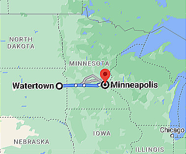 Google Map Watertown SD Minnesota to Minneapolis MN