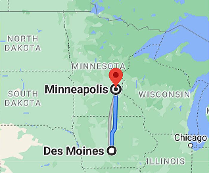 Google Map of Des Moines IA to Minneapolis MN Photo Image